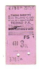 BIGLIETTO TICKET EDMONSON   TRENI  DIRETTI  MILANO  TORINO P.S.  28-7-1950 ?
