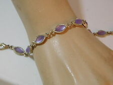 "Vtg Lavender Pink Frosted Marquise Moonglow Rhinestone Silver 7.5"" Bracelet 8e24"