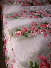 Vintage 50s pretty pink rose quilted valanced double bedspread throw J1