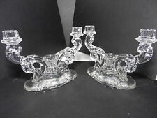 "Heisey By Imperial 2 Baroque 3 Light Candelabra Epergnes Clear Crystal 6 1/4"" T"