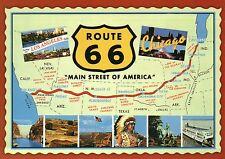 Route 66, Main Street of America, Highway, Chicago to Los Angeles - Map Postcard