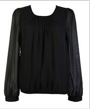 Women's Pleats Elastic Waist Chiffon Blouse Plus Size