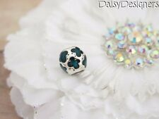 Authentic PANDORA Sterling Silver TEAL BUTTERFLIES Charm 790438EN08 RETIRED