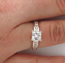 Amazing 14K Solid white Gold Princess Cut Man made diamond 1.50 ct Ring