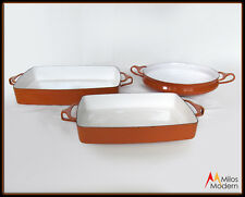 Vintage 60s Mid Century Modern 3 Piece Set French Dansk Enamelware Pans Orange