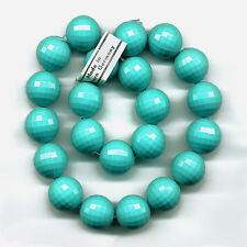 Vintage Blue Plastic Beads 14mm Faceted Turquoise Rounds 22 Pcs. Made W. Germany