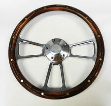 Jeep Wrangler YJ Cherokee Wagoneer Dark Pine Wood & Billet Steering Wheel 14""