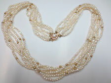 Vintage 14k Clasp Seed Pearl & Gold Bead Necklace 34.9 grams 6 Strands