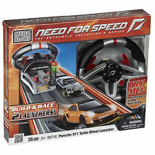 Mega Bloks Need for Speed Porsche Turbo 911 w/Sounds & 2-Car Launcher NEW IN BOX
