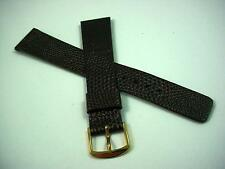 Seiko Mens 18mm Vintage Watch Band Brown Lizardgrain on Calf Gold Tone Buckle