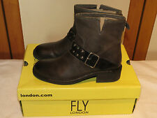 FLY LONDON 'FIBA' LEATHER PULL ON BIKER ANKLE BOOTS UK 4 EUR 37 BNIB RRP £120