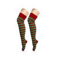 Ladies Girls New Over The Knee Red Green Striped Sock Christmas Day Fun Elf Xmas