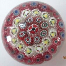 Vintage Murano Italy Art Glass Paperwieght - White Red Circles Millefiori Flower