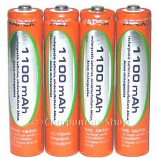4x AAA 1100mAh NiMH rechargeable batteries WITH CASE