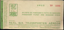 REAL S/A Transportes Aereos bilhete Brasilia Airline TICKET Bagagge no VARIG ax