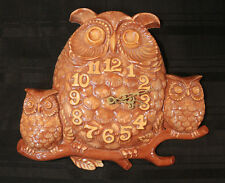 VINTAGE Ceramic OWL CLOCK Mom with Babies Plug in WORKS