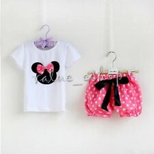 Baby Girl Minnie Mouse Bow T Shirt Top +Skirt Pants Dress Outfit Clothing Set 2T
