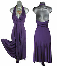 Karen Millen Purple Jersey Halterneck Low V-Neck Open Back Formal Dress sz10/38