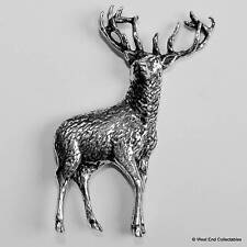 Red Deer Stag Pewter Pin Brooch -British Hand Crafted- Antler Hunting Stalking