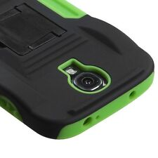 For Samsung Galaxy S4 - HARD & SOFT RUBBER HYBRID ARMOR CASE GREEN KICKSTAND CAR