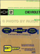 1971 Chevy Nova and SS Owners Manual with Envelope 71 Chevrolet Owner Guide Book