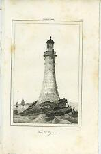 ANTIQUE EDDYSTONE LIGHTHOUSE RAMEHEAD UK ROCKS SAIL BOAT OLD ENGRAVING PRINT