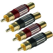 4 x Gold Plated RCA Phono Plug Connectors for Large Diameter Audio Cables