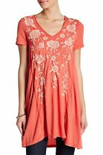 NWT JOHNNY WAS EMBROIDERED HANNA DRAPE LONG TUNIC TOP TEE HOT ORANGE SZ XL