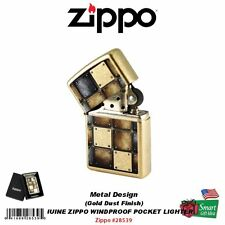 Zippo Metal Design Lighter, Gold Dust Street Finish USA Genuine Windproof #28539