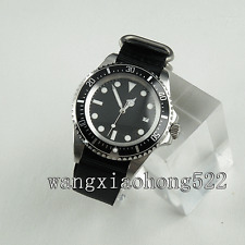 42mm Parnis Black Dial Sea Style luminous Nylon Strap Automatic Mens Watch 053
