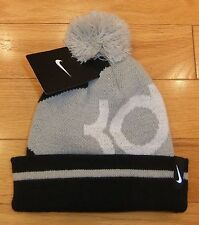 "NWT NIKE ""KD"" Youth Boys Cuffed Pom Knit Beanie Hat-OSFM (8-20) @$22 BLACK/GRAY"