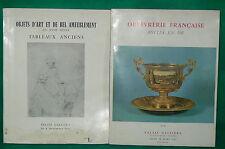2 catalogues vente enchères PALAIS GALLIERA 1963 Tableaux anciens orfévrerie