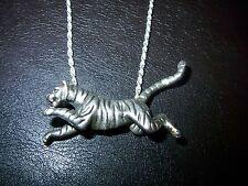 vollplastisch ausgestalteter Tiger-Raub-Katze- Silber 900er 1970-85