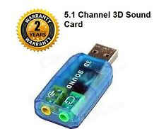 USB Sound Card Adapter USB 3D Virtual 5.1 Stereo & MIC PC Desktop Laptop