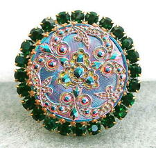 Vintage Style Czech RHINESTONE ALL Glass Button (1 pc) #G227 - SIGNED - 41 mm