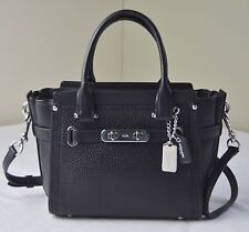 Coach 37444 Black Leather Swagger 21 Satchel Crossbody