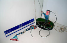 LP16 (H) Fun Vintage Outsider Art Tin Fish Boat Fisherman Sculpture Toy