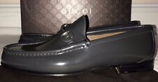 Gucci Mens Gray Brushed Leather Horsebit Loafer Shoes Size 11