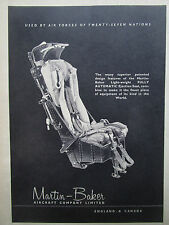 1/1957 PUB MARTIN BAKER EJECTION SEAT SIEGE EJECTABLE ESCAPE SYSTEM AD