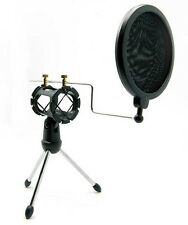 Microphone Mic Shock Mount Studio Desktop Table Top Tripod Stand w/ Pop Filter