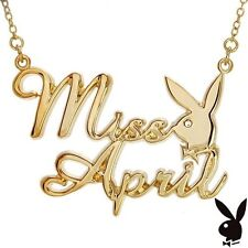 Playboy Necklace MISS APRIL Bunny Pendant Gold Plated Playmate BIRTHDAY GIFT