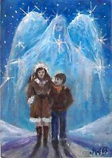 January SALE ACEO Art Painting,Guardian Angel, Brother Sister, Mother Son, Stars