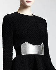 **Alexander McQueen** Dress Cathedral Silver Plate Belt, Black/Silver size/30