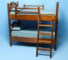 Dollhouse Miniature Bunk Bed Set in Walnut with Blue Fabric ~ CLA10885