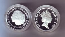1989 50 Cent SILVER Coin Prince Wales Lady Diana Spencer ex Masterpieces in Set
