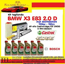 Kit tagliando olio CASTROL EDGE 5W30 6LT+4 FILTRI BOSCH BMW X3 2.0D E83 150CV