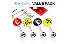 4 lot BAD Words Stainless Steel Tongue Rings Straight BARBELLS Piercing Jewelry