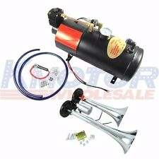 New Train Horn Kit Loud Dual 2 Trumpet w/ Air Compressor Complete System120 PSI