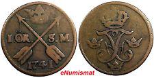 New listing Sweden Frederick I Copper 1741 1 Ore, S.M. Brown Km# 416.1