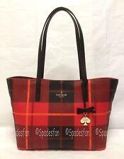 Kate Spade PXRU4982 Hawthorne Lane Ryan Plaid Tote Bag CHERRY LIQUEUR Red NWT